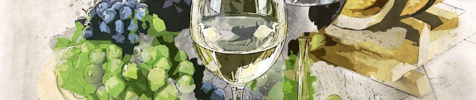 Un dessin représentant deux verres de vin blanc et du raisin